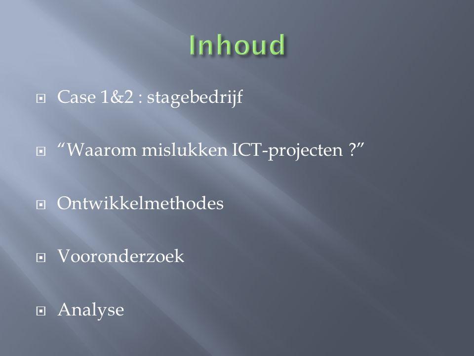 Inhoud Case 1&2 : stagebedrijf Waarom mislukken ICT-projecten