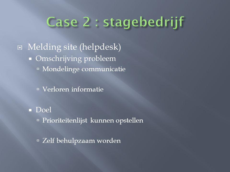 Case 2 : stagebedrijf Melding site (helpdesk) Omschrijving probleem