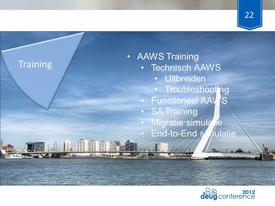 Training AAWS Training Technisch AAWS Uitbreiden Troubleshooting