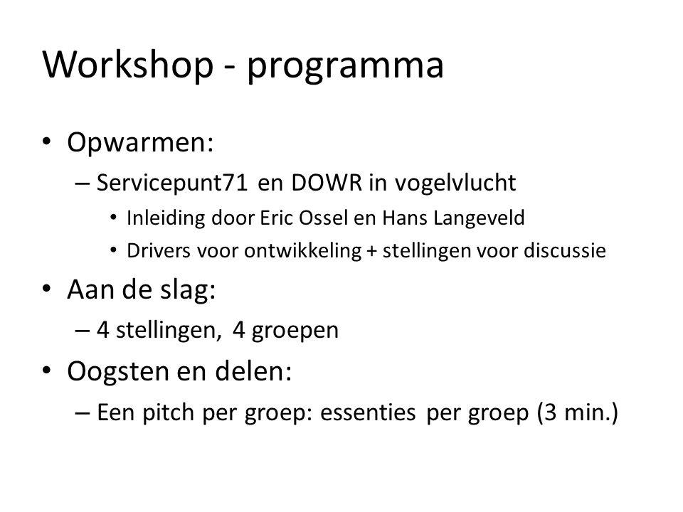 Workshop - programma Opwarmen: Aan de slag: Oogsten en delen: