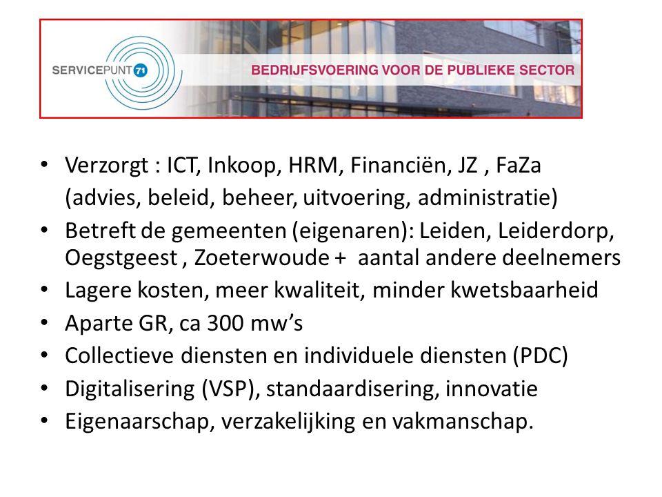 Verzorgt : ICT, Inkoop, HRM, Financiën, JZ , FaZa
