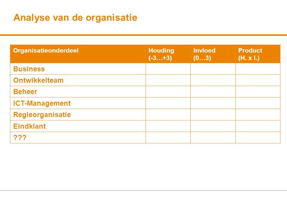 Analyse van de organisatie