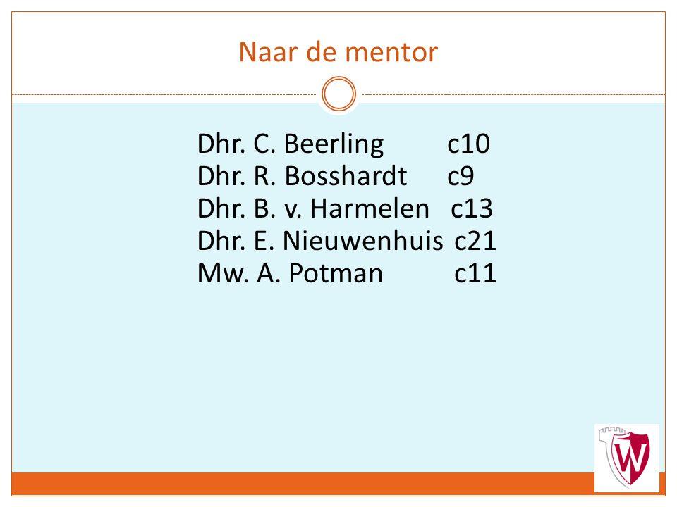 Naar de mentor Dhr. C. Beerling c10 Dhr. R. Bosshardt c9