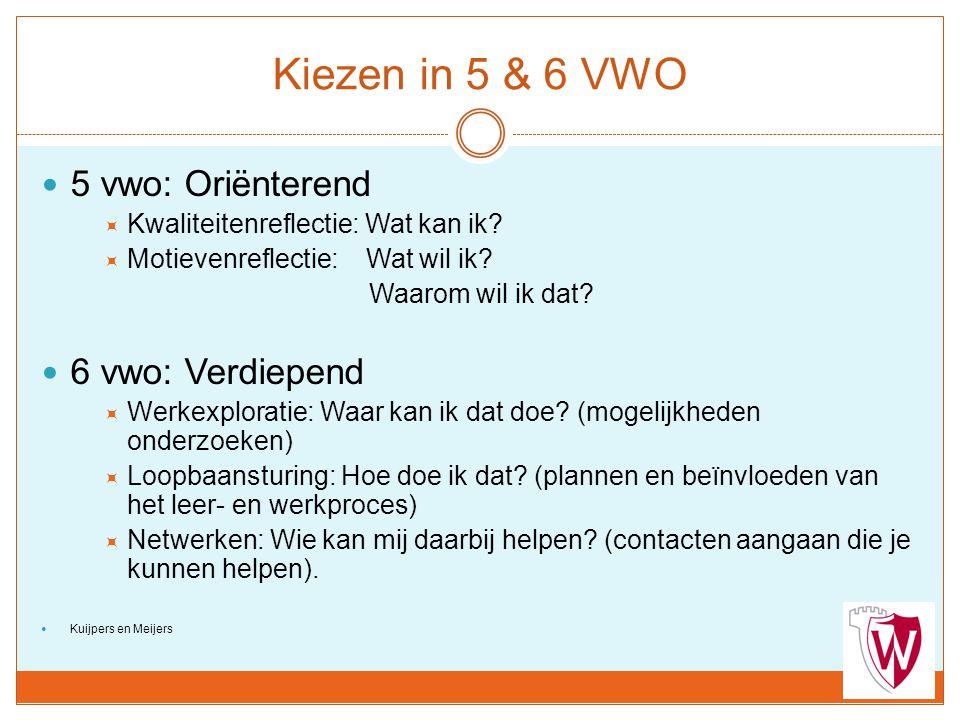Kiezen in 5 & 6 VWO 5 vwo: Oriënterend 6 vwo: Verdiepend