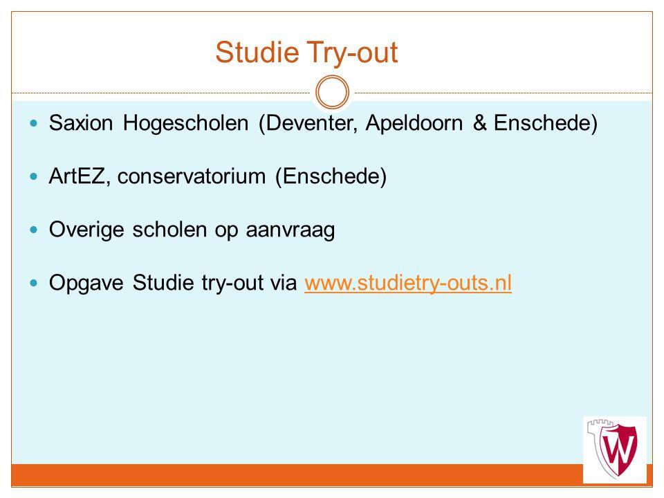 Studie Try-out Saxion Hogescholen (Deventer, Apeldoorn & Enschede)