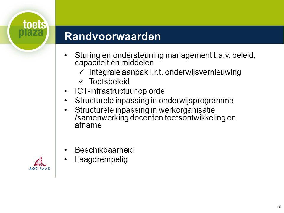 Randvoorwaarden Sturing en ondersteuning management t.a.v. beleid, capaciteit en middelen. Integrale aanpak i.r.t. onderwijsvernieuwing.