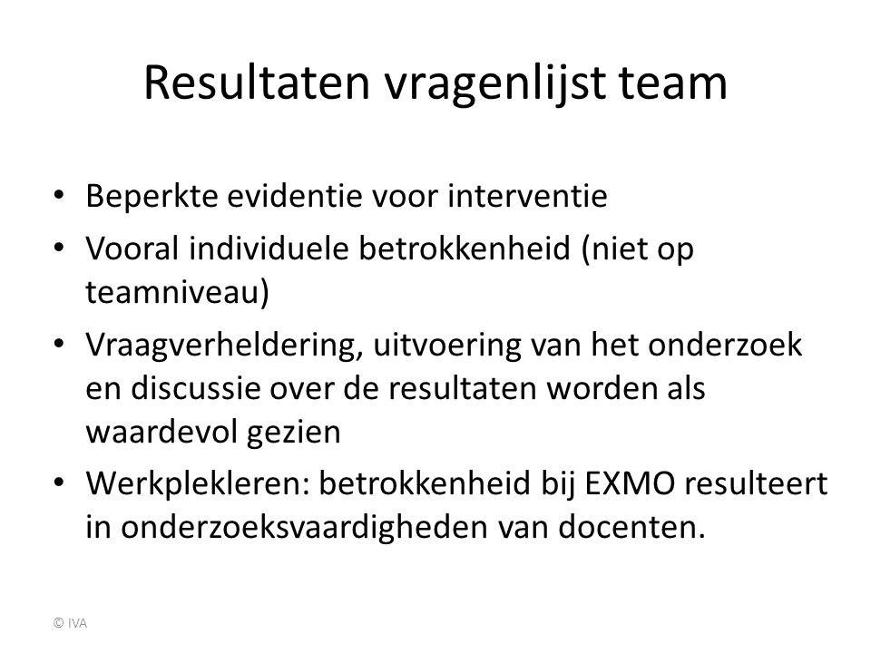 Resultaten vragenlijst team
