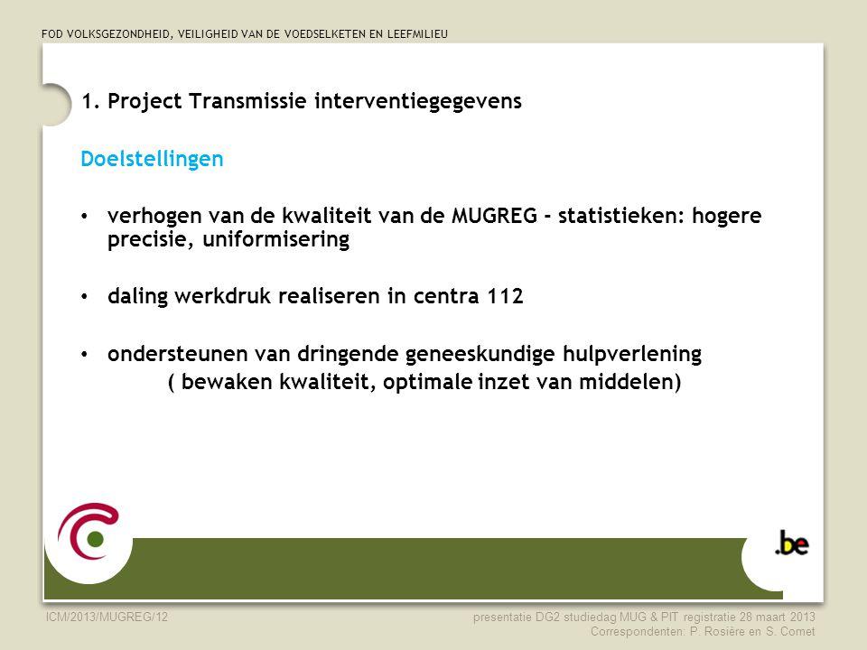 1. Project Transmissie interventiegegevens Doelstellingen