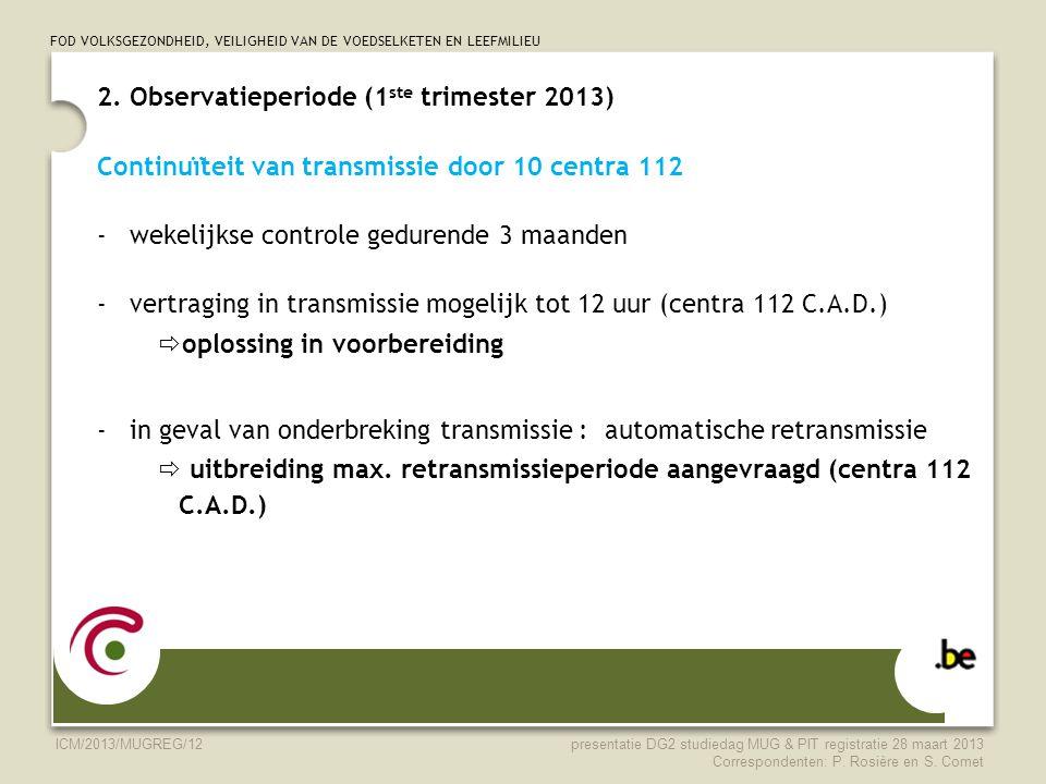 2. Observatieperiode (1ste trimester 2013)