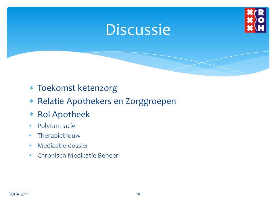 Discussie Toekomst ketenzorg Relatie Apothekers en Zorggroepen