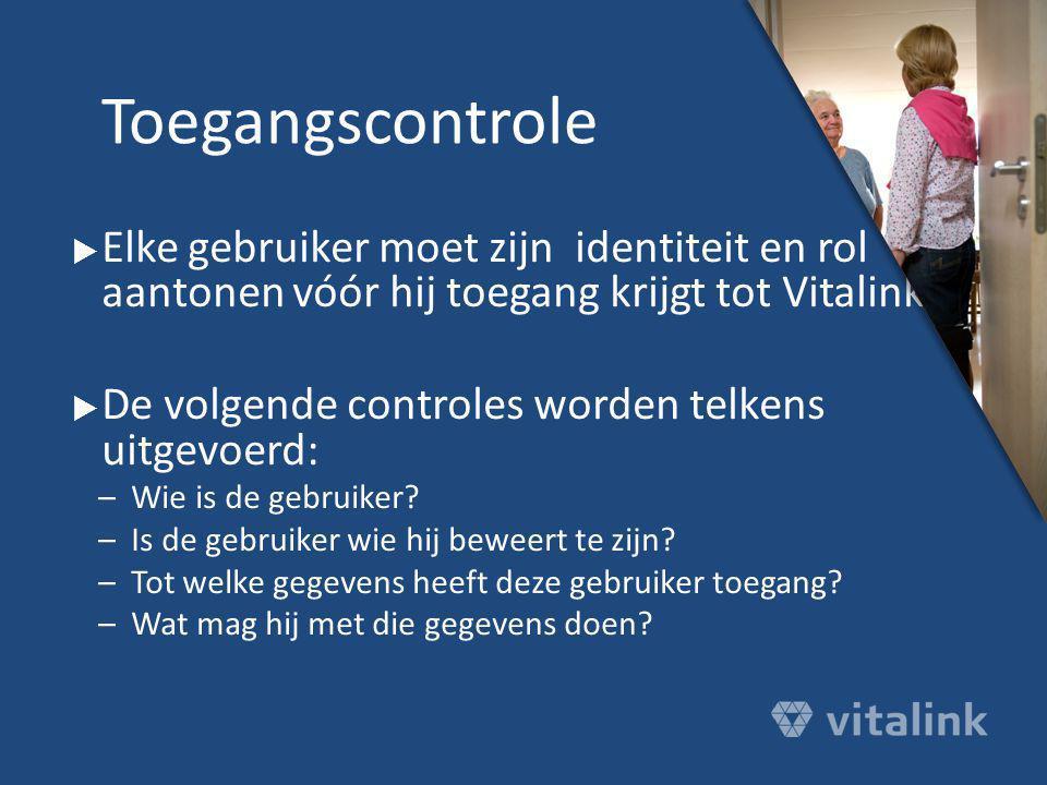 Toegangscontrole Elke gebruiker moet zijn identiteit en rol aantonen vóór hij toegang krijgt tot Vitalink.