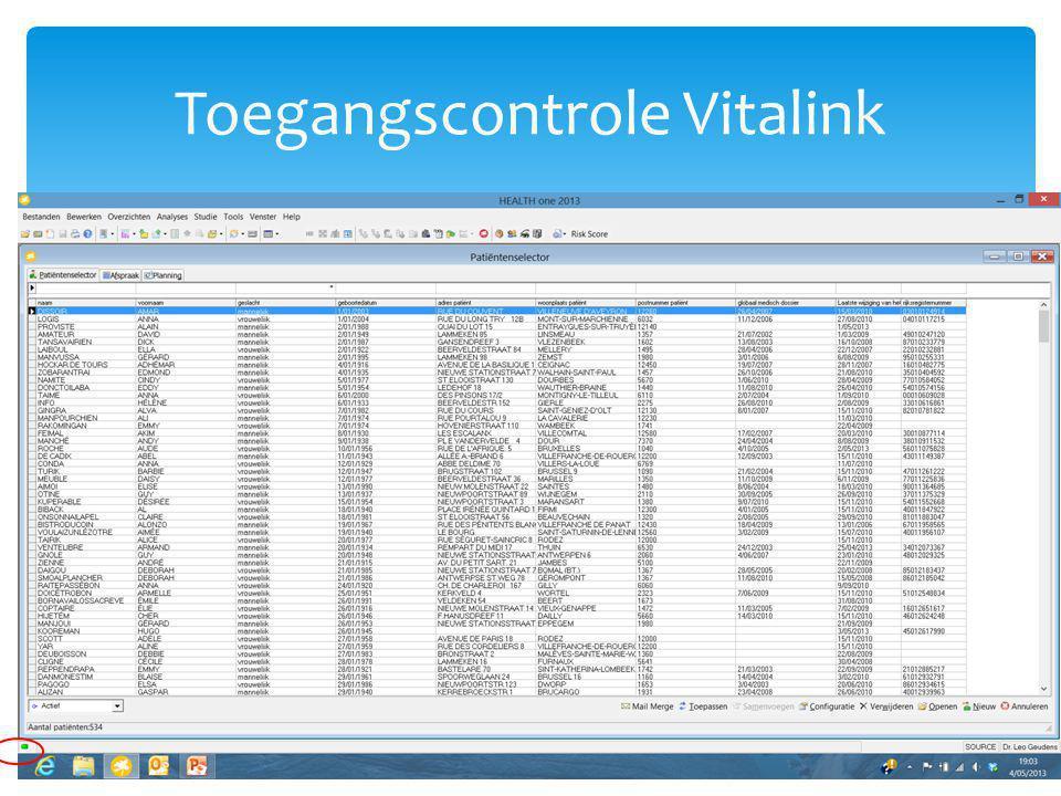 Toegangscontrole Vitalink