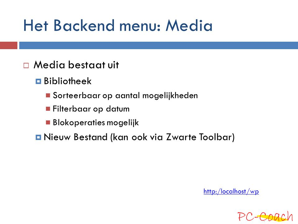 Het Backend menu: Media
