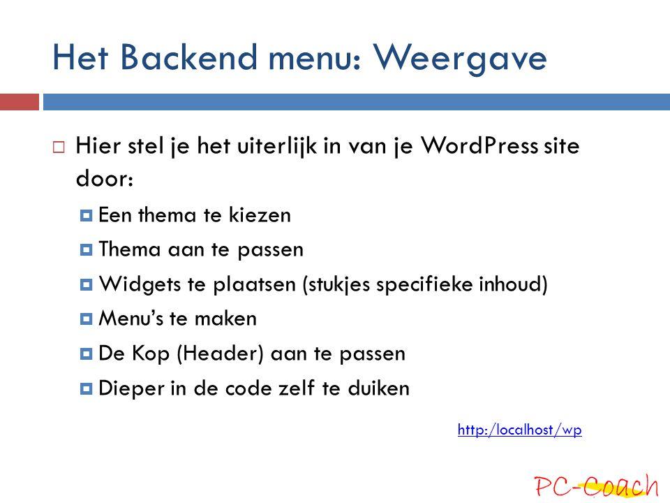 Het Backend menu: Weergave