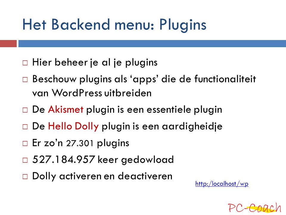 Het Backend menu: Plugins