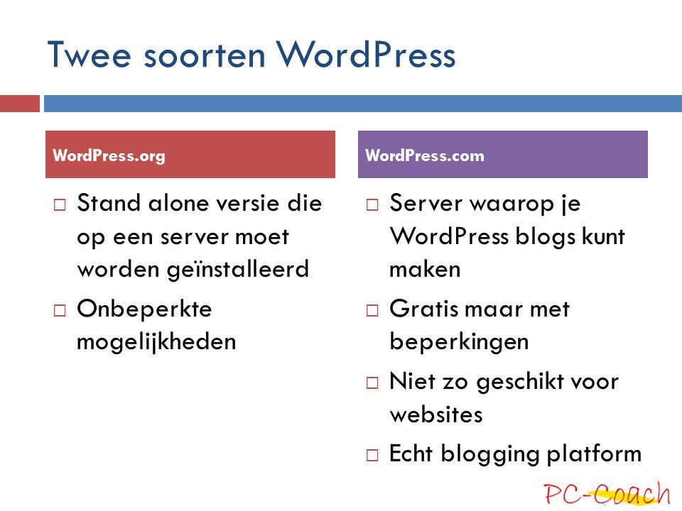 Twee soorten WordPress
