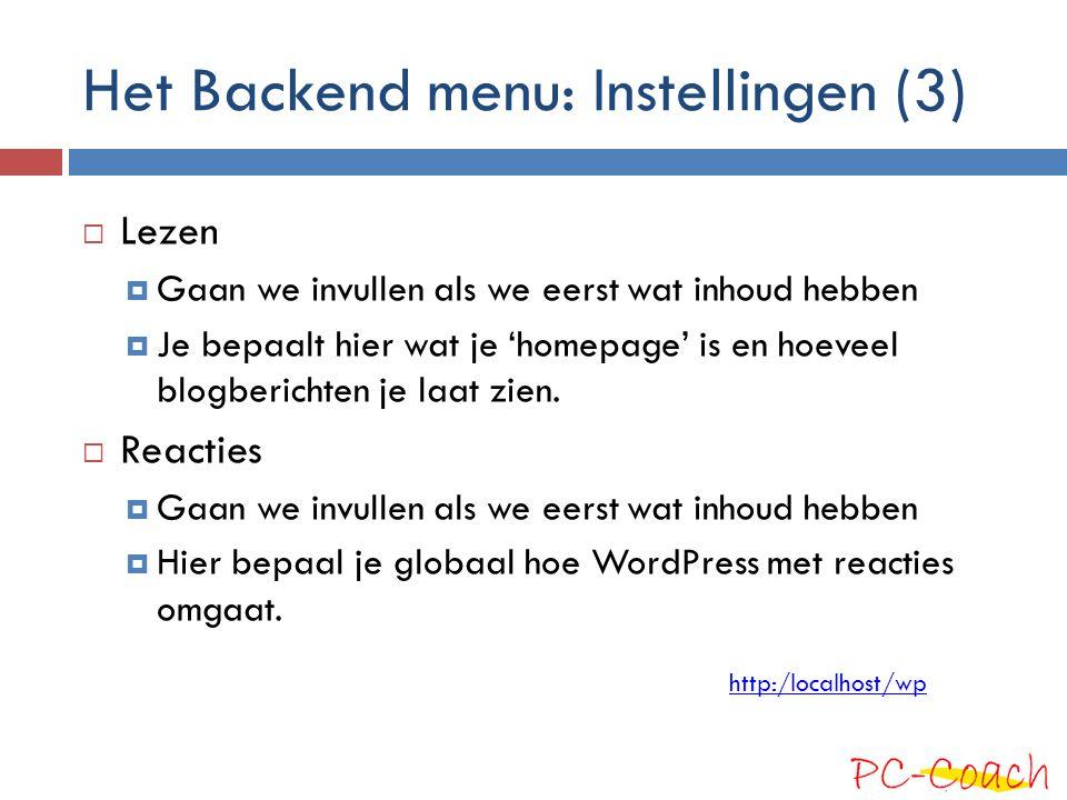 Het Backend menu: Instellingen (3)