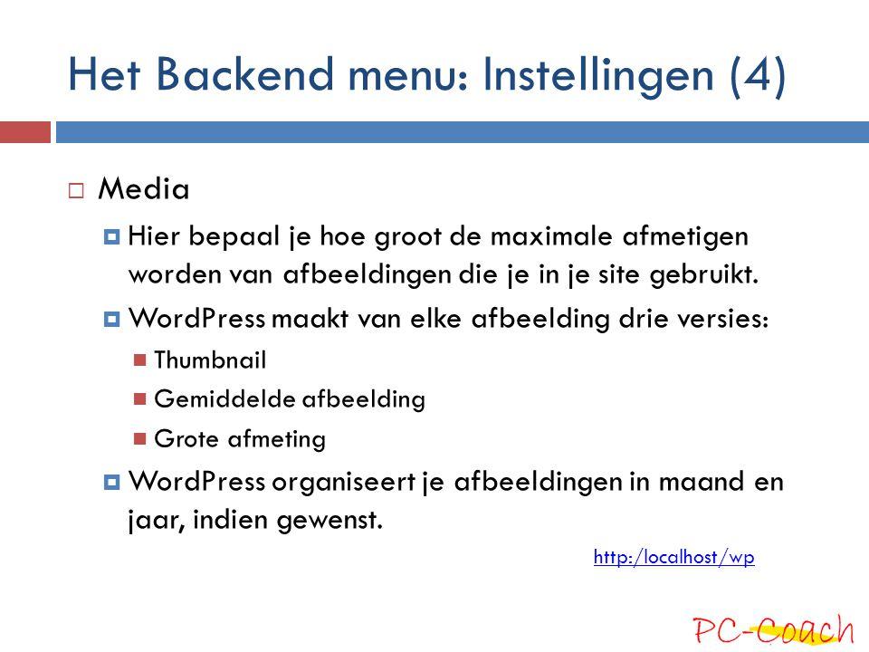 Het Backend menu: Instellingen (4)