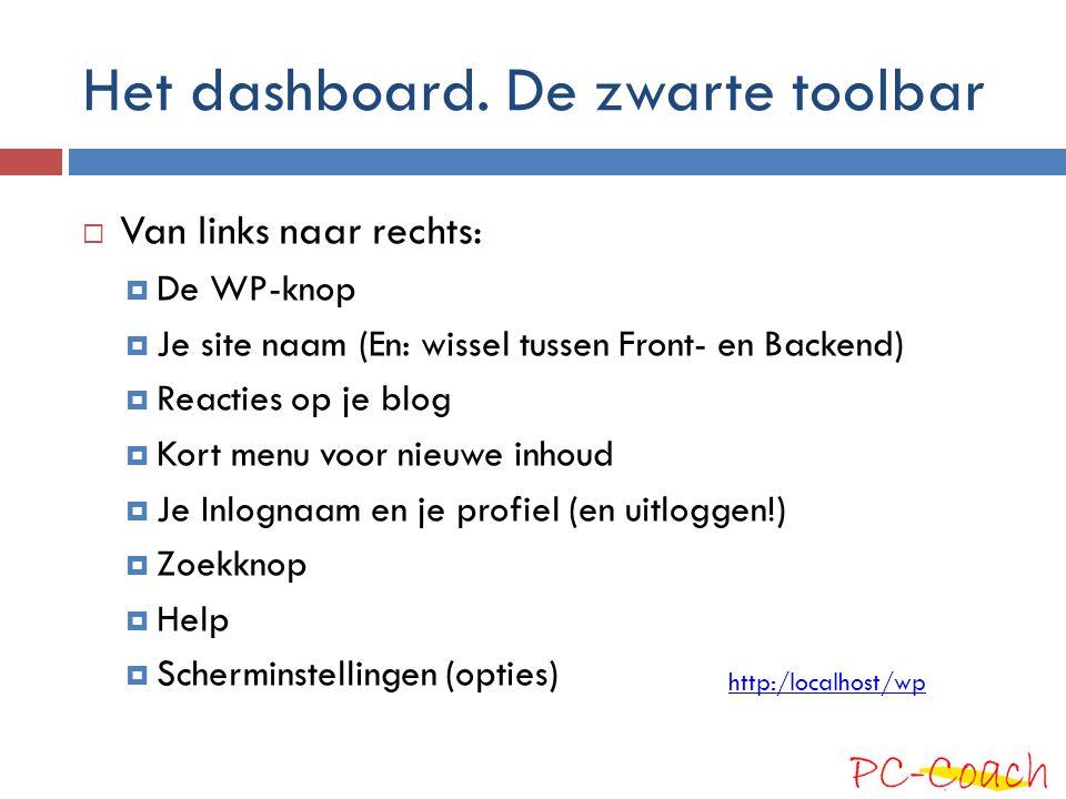 Het dashboard. De zwarte toolbar