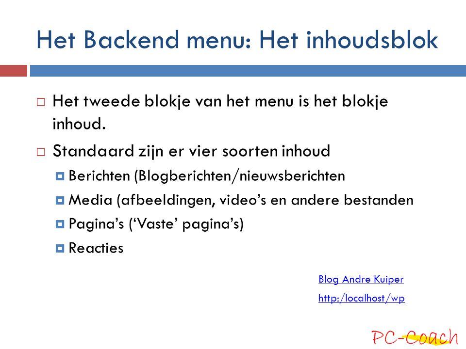 Het Backend menu: Het inhoudsblok