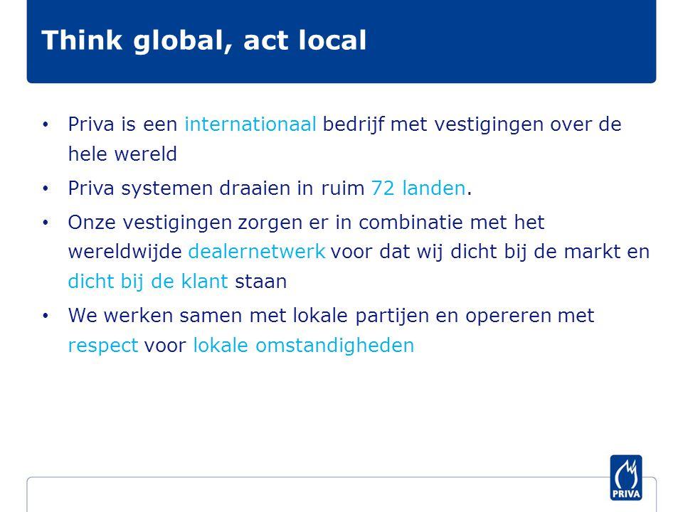 Think global, act local Priva is een internationaal bedrijf met vestigingen over de hele wereld. Priva systemen draaien in ruim 72 landen.