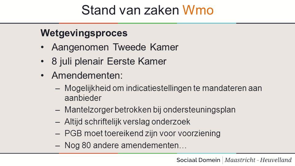 Stand van zaken Wmo Wetgevingsproces Aangenomen Tweede Kamer