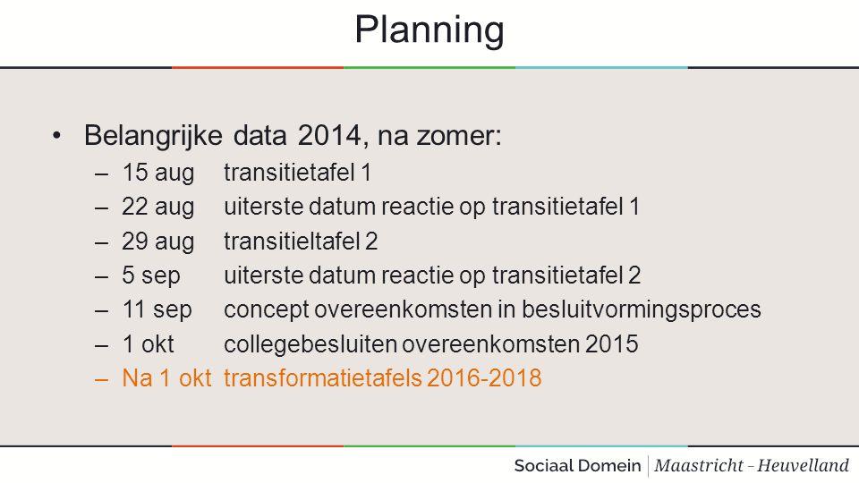Planning Belangrijke data 2014, na zomer: 15 aug transitietafel 1