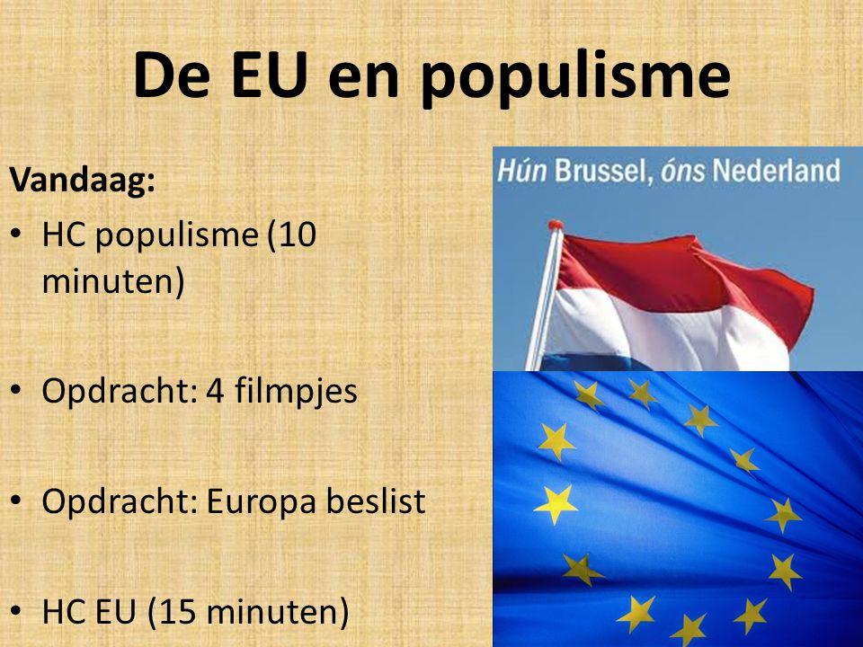 De EU en populisme Vandaag: HC populisme (10 minuten)