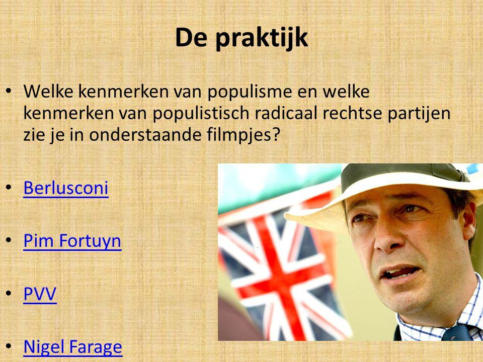 De praktijk Welke kenmerken van populisme en welke kenmerken van populistisch radicaal rechtse partijen zie je in onderstaande filmpjes