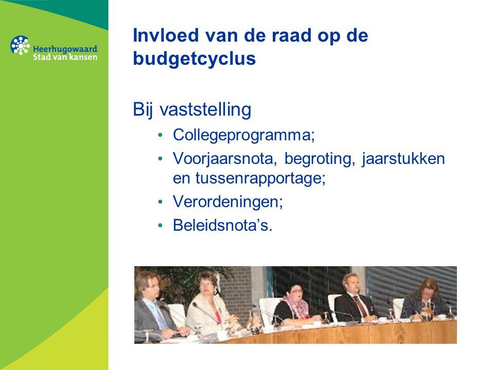 Invloed van de raad op de budgetcyclus