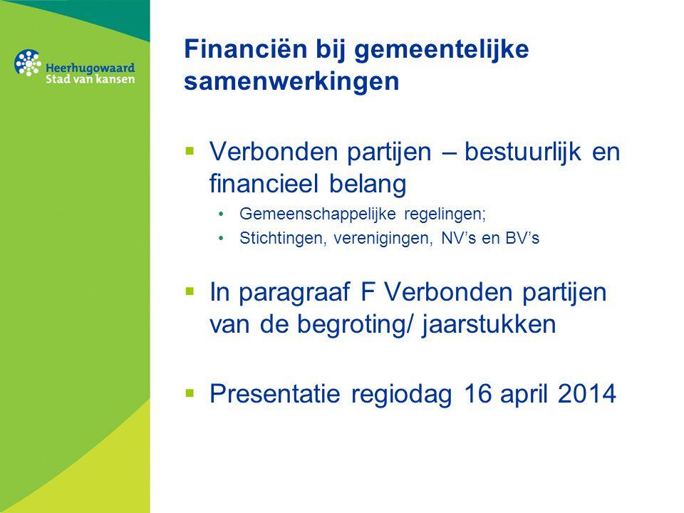 Financiën bij gemeentelijke samenwerkingen