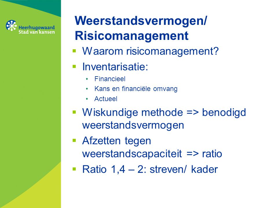 Weerstandsvermogen/ Risicomanagement