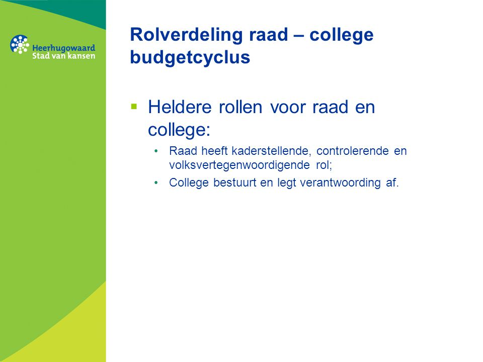 Rolverdeling raad – college budgetcyclus