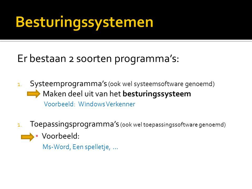 Besturingssystemen Er bestaan 2 soorten programma's: