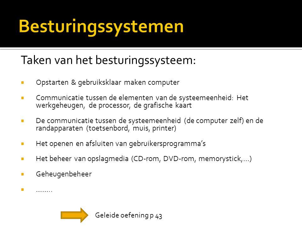 Besturingssystemen Taken van het besturingssysteem: