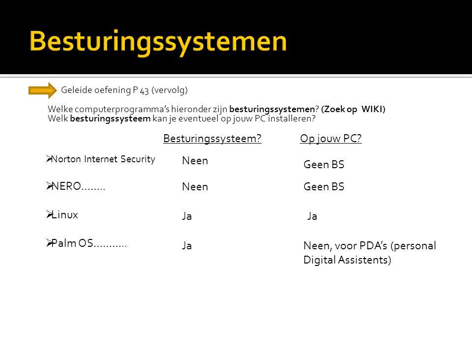 Besturingssystemen NERO…….. Linux Palm OS……….. Besturingssysteem