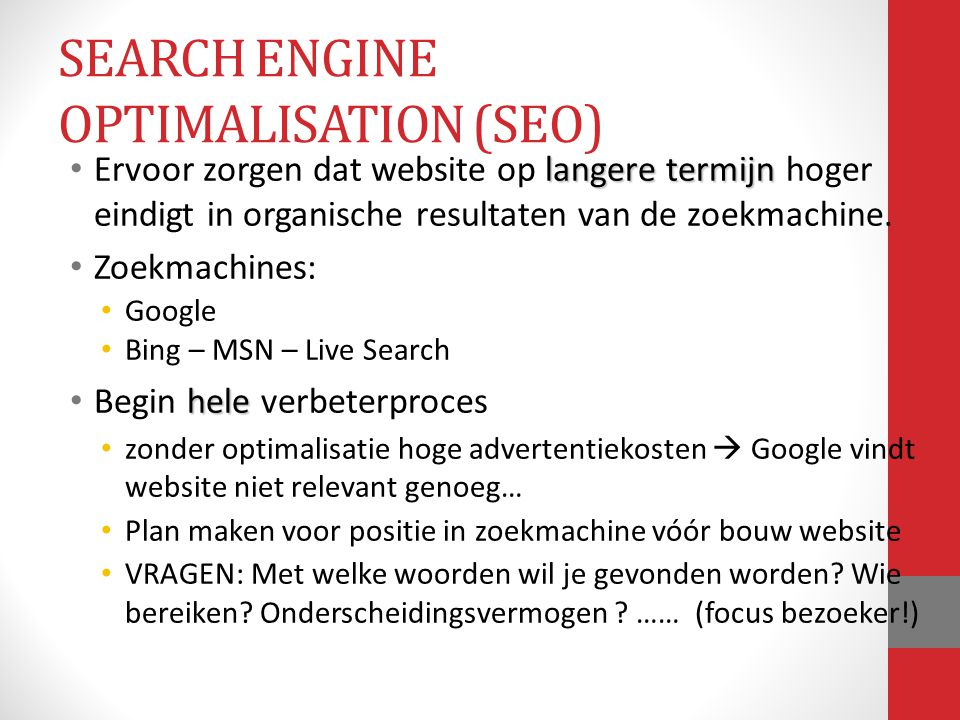 SEARCH ENGINE OPTIMALISATION (SEO)