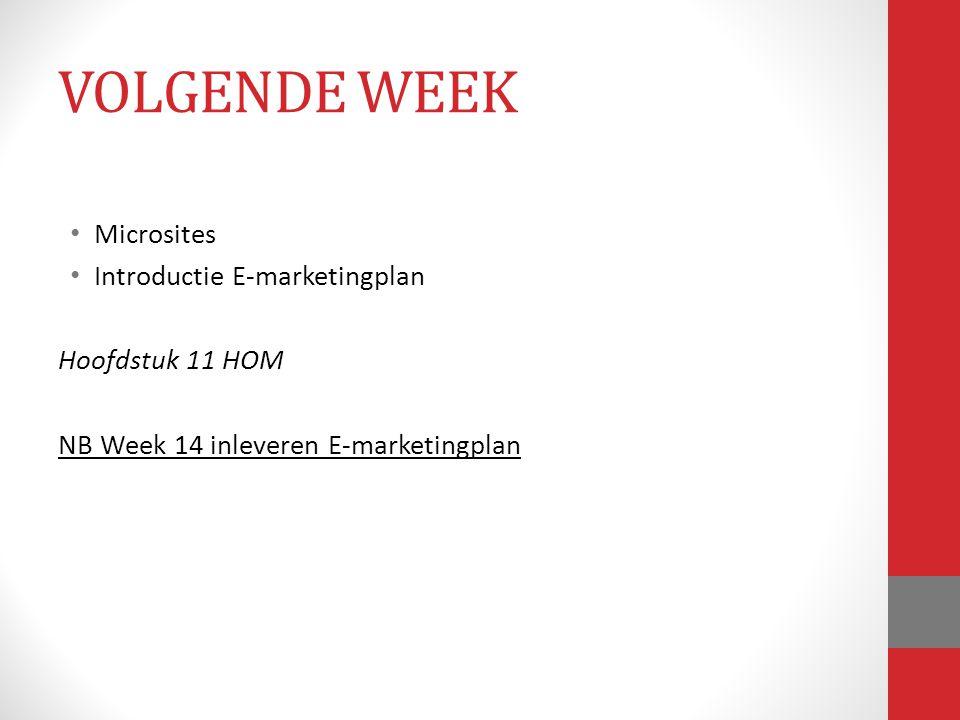 VOLGENDE WEEK Microsites Introductie E-marketingplan Hoofdstuk 11 HOM