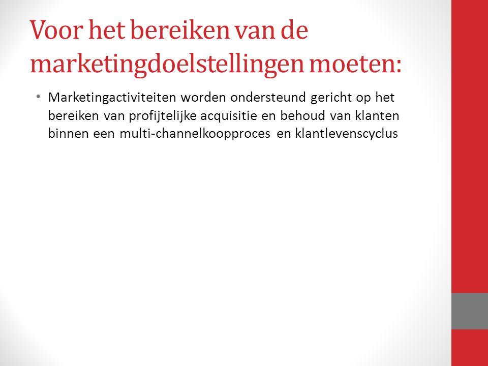 Voor het bereiken van de marketingdoelstellingen moeten: