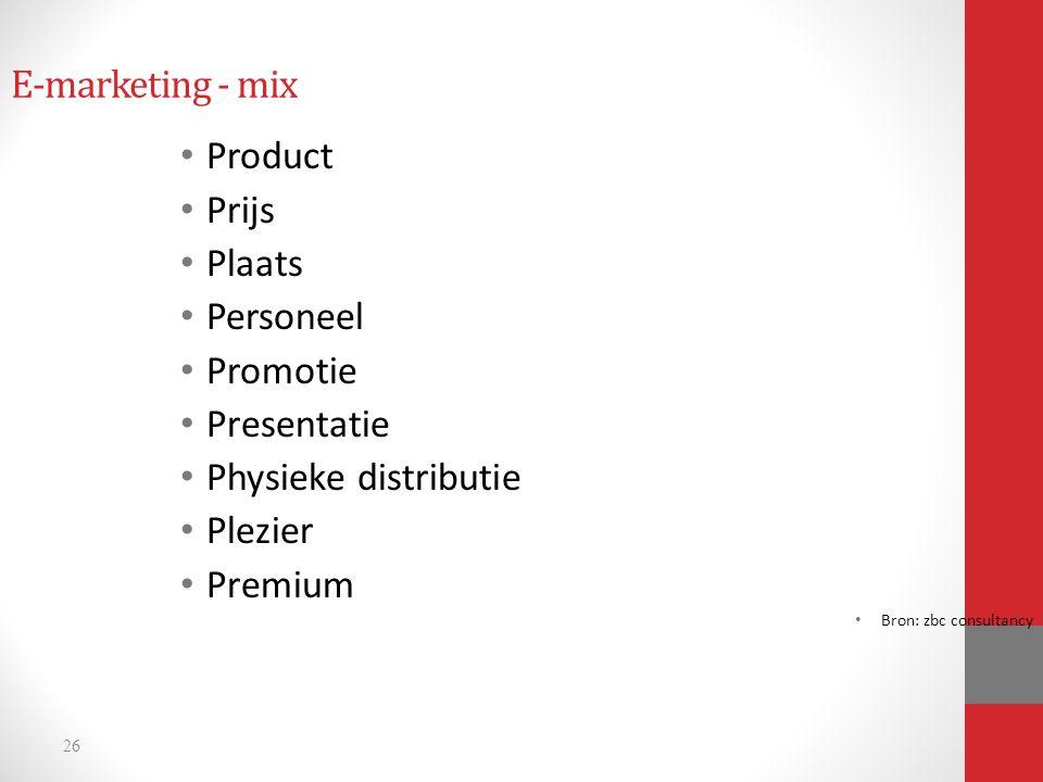 E-marketing - mix Product Prijs Plaats Personeel Promotie Presentatie