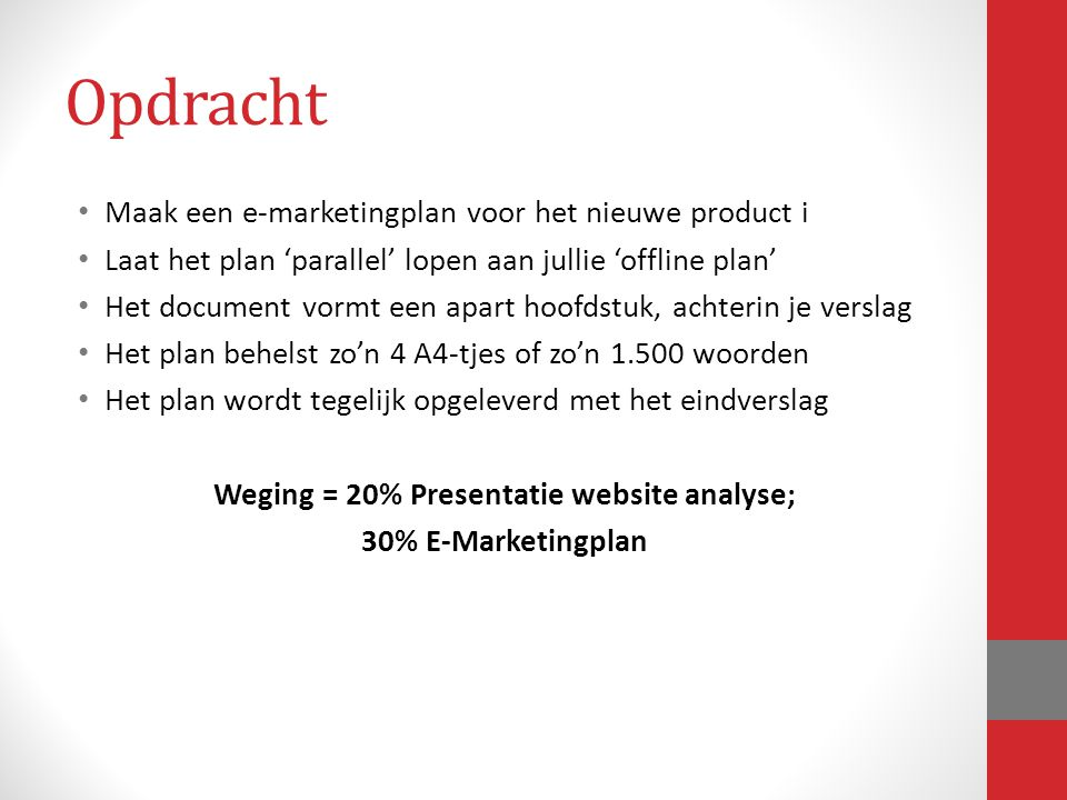 Weging = 20% Presentatie website analyse;