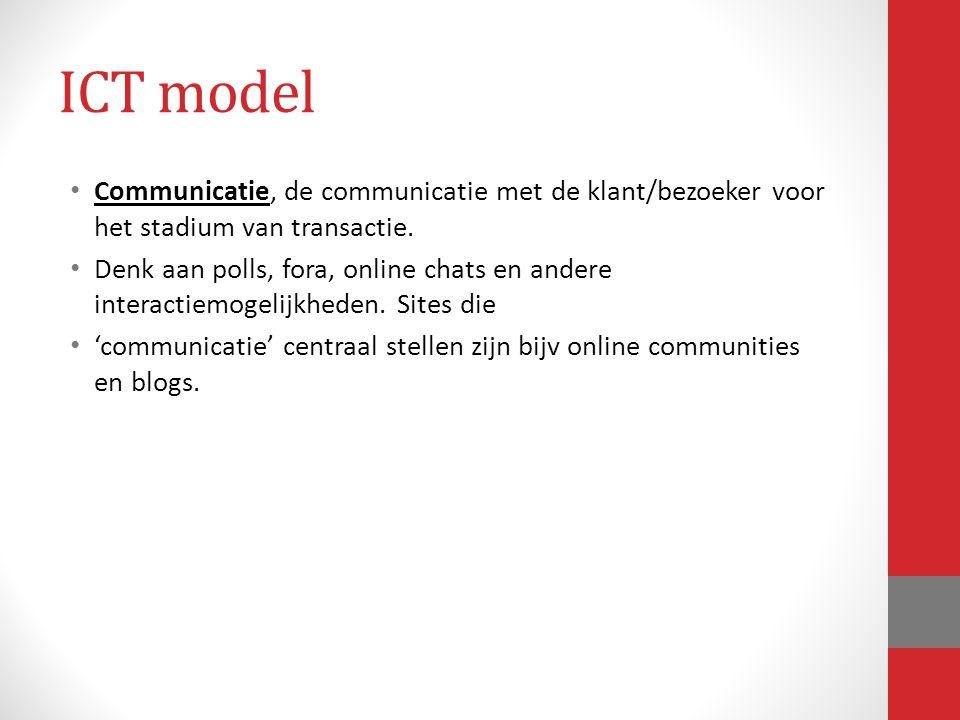 ICT model Communicatie, de communicatie met de klant/bezoeker voor het stadium van transactie.