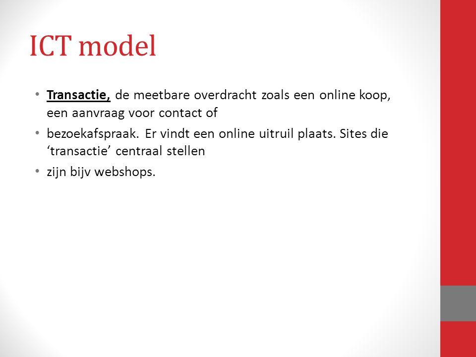 ICT model Transactie, de meetbare overdracht zoals een online koop, een aanvraag voor contact of.