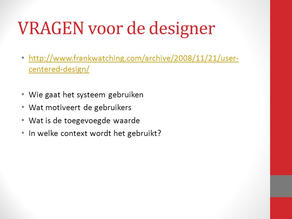 VRAGEN voor de designer