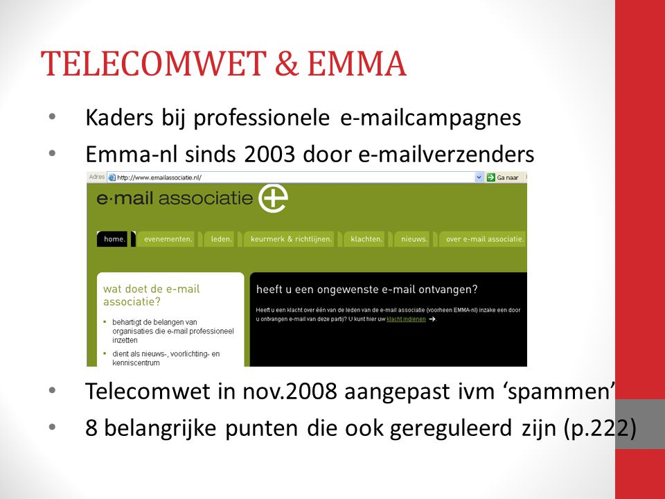 TELECOMWET & EMMA Kaders bij professionele e-mailcampagnes