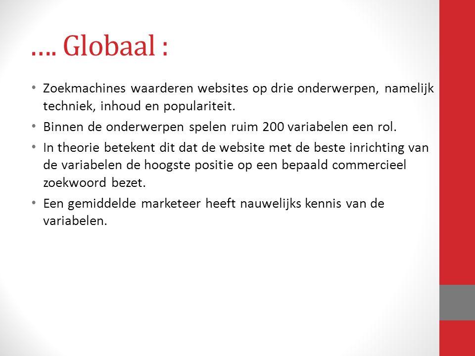 …. Globaal : Zoekmachines waarderen websites op drie onderwerpen, namelijk techniek, inhoud en populariteit.