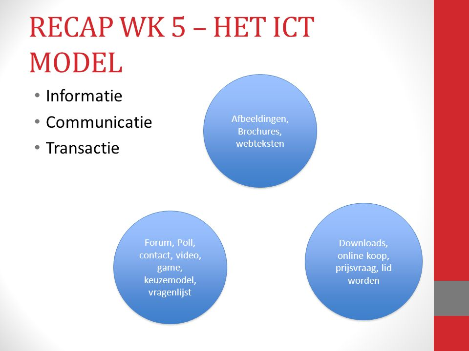 RECAP WK 5 – HET ICT MODEL Informatie Communicatie Transactie