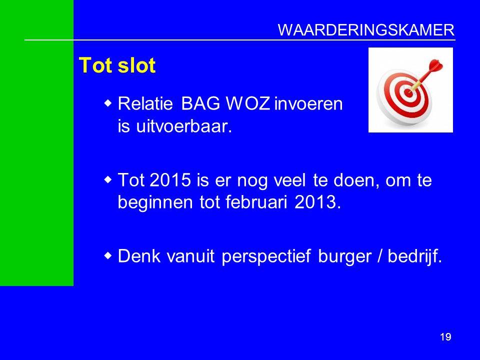 Tot slot Relatie BAG WOZ invoeren is uitvoerbaar.