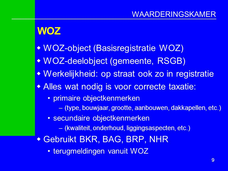WOZ WOZ-object (Basisregistratie WOZ) WOZ-deelobject (gemeente, RSGB)