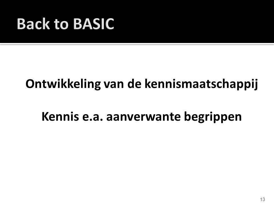 Back to BASIC Ontwikkeling van de kennismaatschappij Kennis e.a. aanverwante begrippen